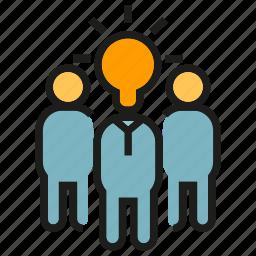 creative, idea, light bulb, people, team, think icon