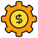 cog, finance, gear, money icon