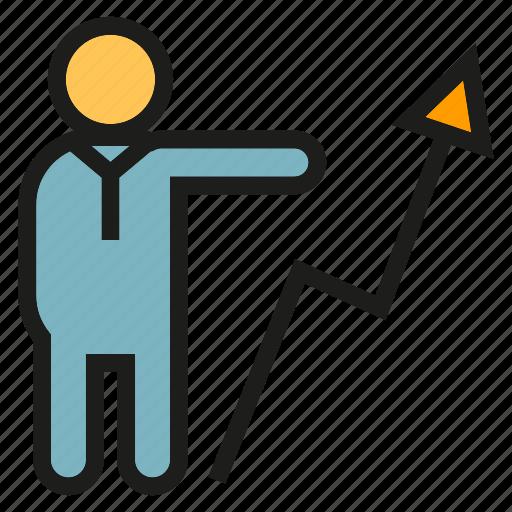 arrow, chart, graph, people, profit icon