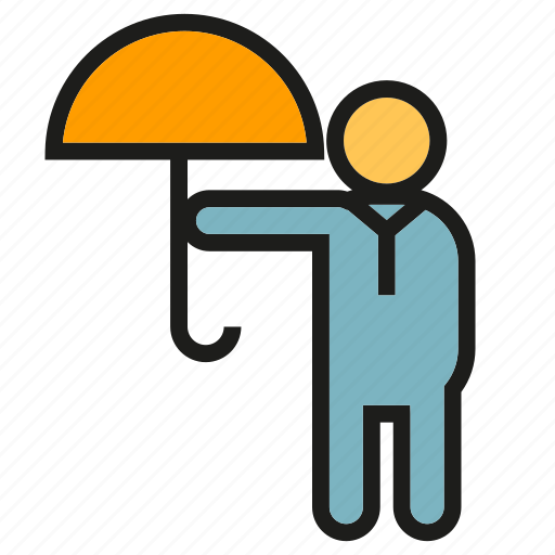 people, protect, risk, security, umbrella icon