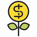 dollar, finance, growth, invest, money, seed icon