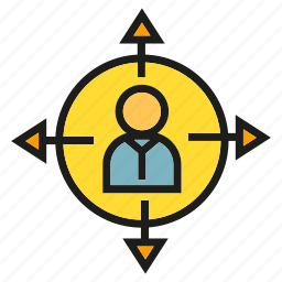 arrow, center, decision making, direction, people icon
