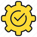 check, cog, gear, tick icon