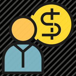dollar, finance, money, people icon