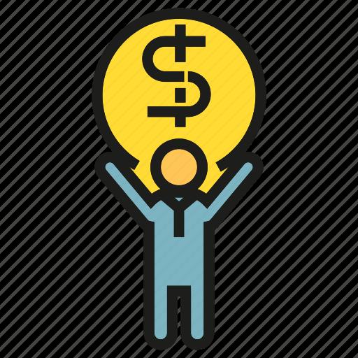 debt, finance, fund, lift, money, people, risk icon