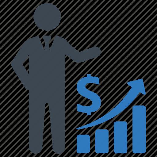 businessman, presentation, profit icon