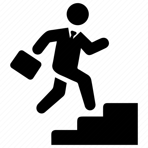 business success, running, stairs icon