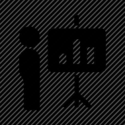 analytics, demo, man, presentation, stats, user icon