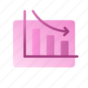 business, chart, data, decrease, graph, marketing, strategy icon