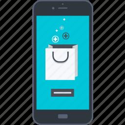 e-commerce, flat design, internet, m-commerce, mobile, purchasing, shopping icon
