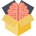 box, brain, creativity, flat design, innovation, outside, think icon