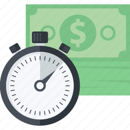 business, finance, flat design, money, time icon