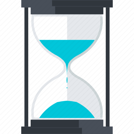 business, flat design, hourglass, management, time icon