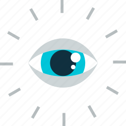 business, control, eye, flat design, vision icon