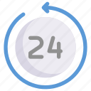 business, marketing, 24 hours, nonstop, service icon