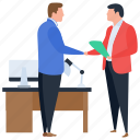 business deal, business relationship, clasped hand, handshaking, partnership icon