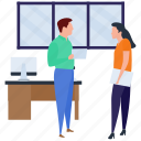 business meetings, business people, discussions, office, work in progress icon