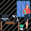 business woman, capitalist, female entrepreneur, female owner, financer icon