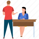 employee selection, interview, job interview, questioning and evaluation, recruitment icon