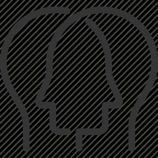 brainstorming, communication, face, idea, persona, referrals, transfer icon