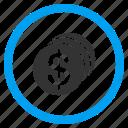 bank, business, cash, dollar coins, finance, money, payment