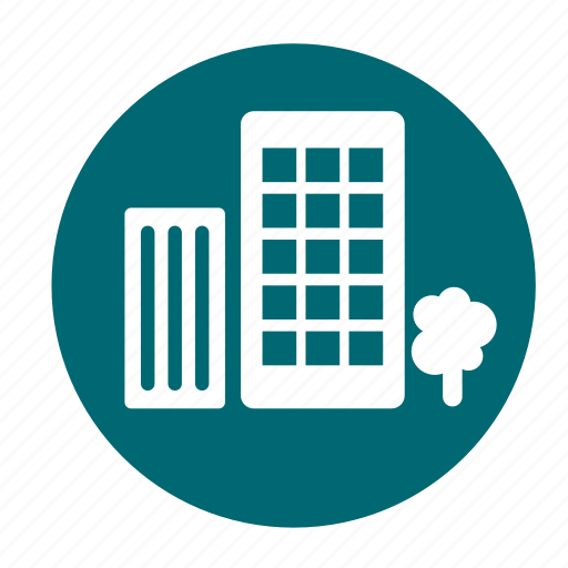 building, business, circle, city, office, tree icon