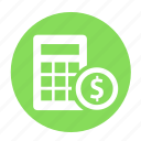business, calculator, circle, estimate, income, math, office icon