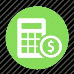 business, calculator, circle, estimate, income, math, office icon