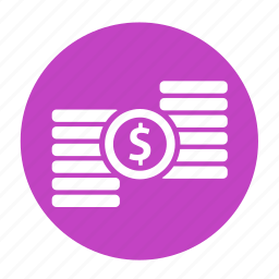 business, circle, coin, dollar, money, office icon