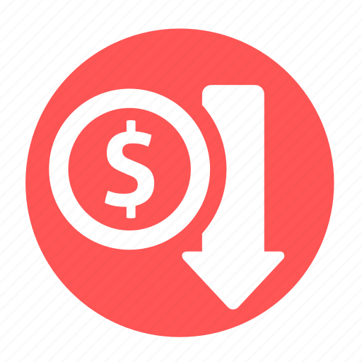 business, circle, decrease, income, money, office, profit icon