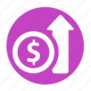 business, circle, income, increase, money, office, profit icon