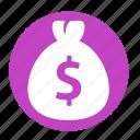 bag, business, circle, dollar, money, office