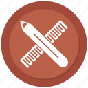 measure, pencil, pencil and ruler, ruler icon