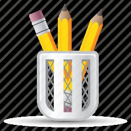 office supplies, pencil, school supplies icon