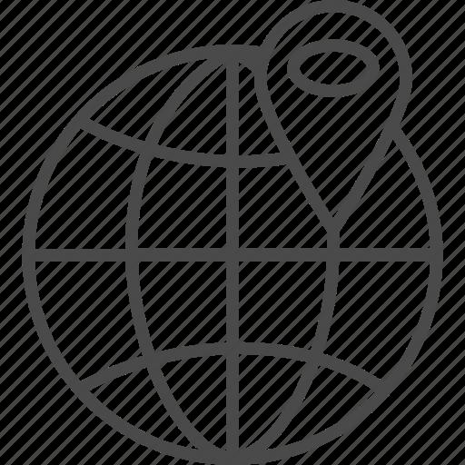 earth, global, globe, map, pin, world, worldwide icon