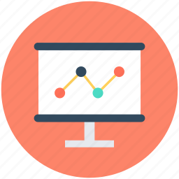 business graph, line graph, monitor, seo graph, statistics icon