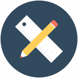drafting tools, pencil, ruler, scale, stationery icon
