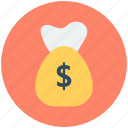 currency sack, dollar sack, money bag, money sack, sack icon