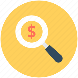business, dollar, magnifier, money, search money icon