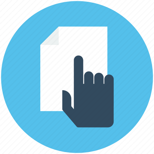 click, document, hand gesture, online document, paper icon