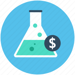 dollar in flask, economy, flask, investment plan, money experiment icon