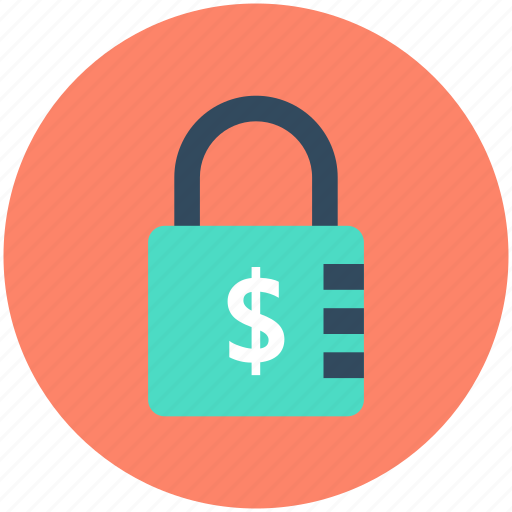 dollar, lock, money safety, money security, padlock icon