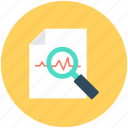 analytics, business report, infographic, magnifier, search graph icon