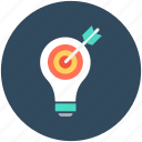 bulb, creative, idea, idea target, innovation icon