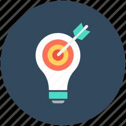 bulb, creative, idea, idea target, innovation icon