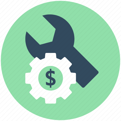banking, cog, dollar, investment plan, spanner icon