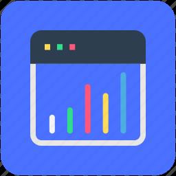 diagram, online analytics, online graph, online infographics, webpage icon
