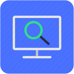 magnifier, monitor, search result, searching, web search icon