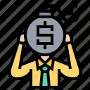 bankrupt, crisis, debt, loan, stress icon