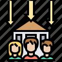 downsizing, economic, housing, recess, reduction